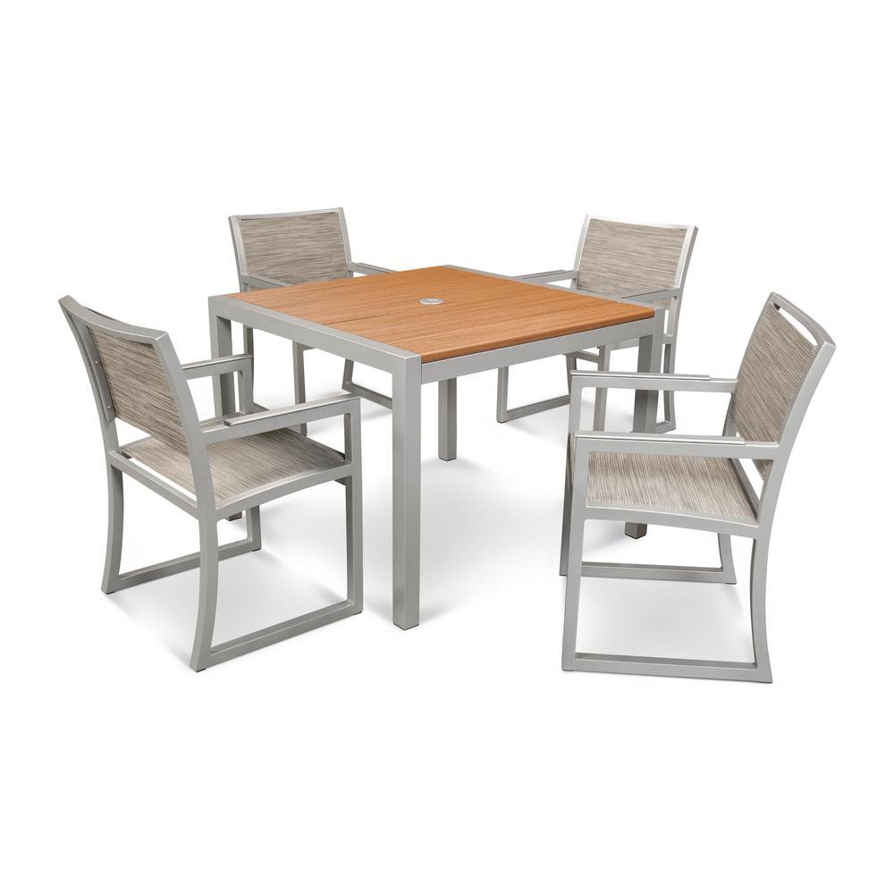 Parsons 5-Piece Plastic Outdoor Patio Dining Set