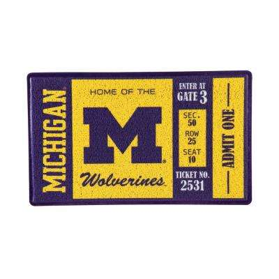 University of Michigan 30 in. x 18 in. Vinyl Indoor/Outdoor Turf Floor Mat