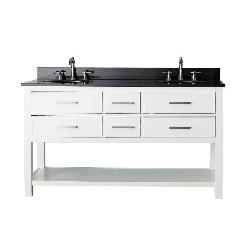 Brooks 61 in. W x 22 in. D x 35 in. H Vanity in White with Granite Vanity Top in Black and White Basins