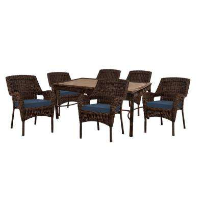 Cambridge Brown 7-Piece Resin Wicker Outdoor Dining Set with Blue Cushions