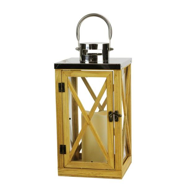 Gerson 13.5 in. Rustic Wood and Stainless Steel Lantern with LED