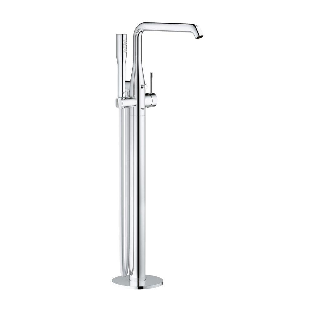 GROHE Essence New Single-Handle Floor-Mount Roman Bathtub Faucet with Handheld Shower in StarLight Chrome
