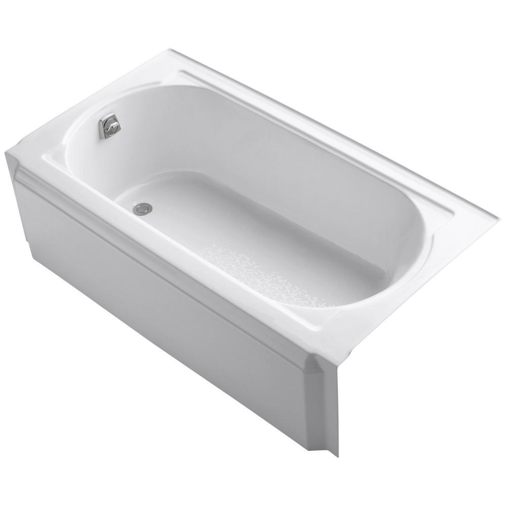 Memoirs 5 ft. Left Drain Rectangular Alcove Cast Iron Soaking Tub in White