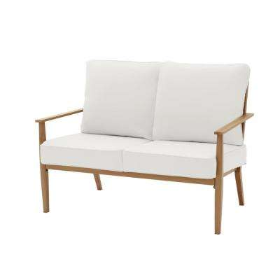 Alderton Brown Steel Outdoor Patio Loveseat with CushionGuard Chalk White Cushions