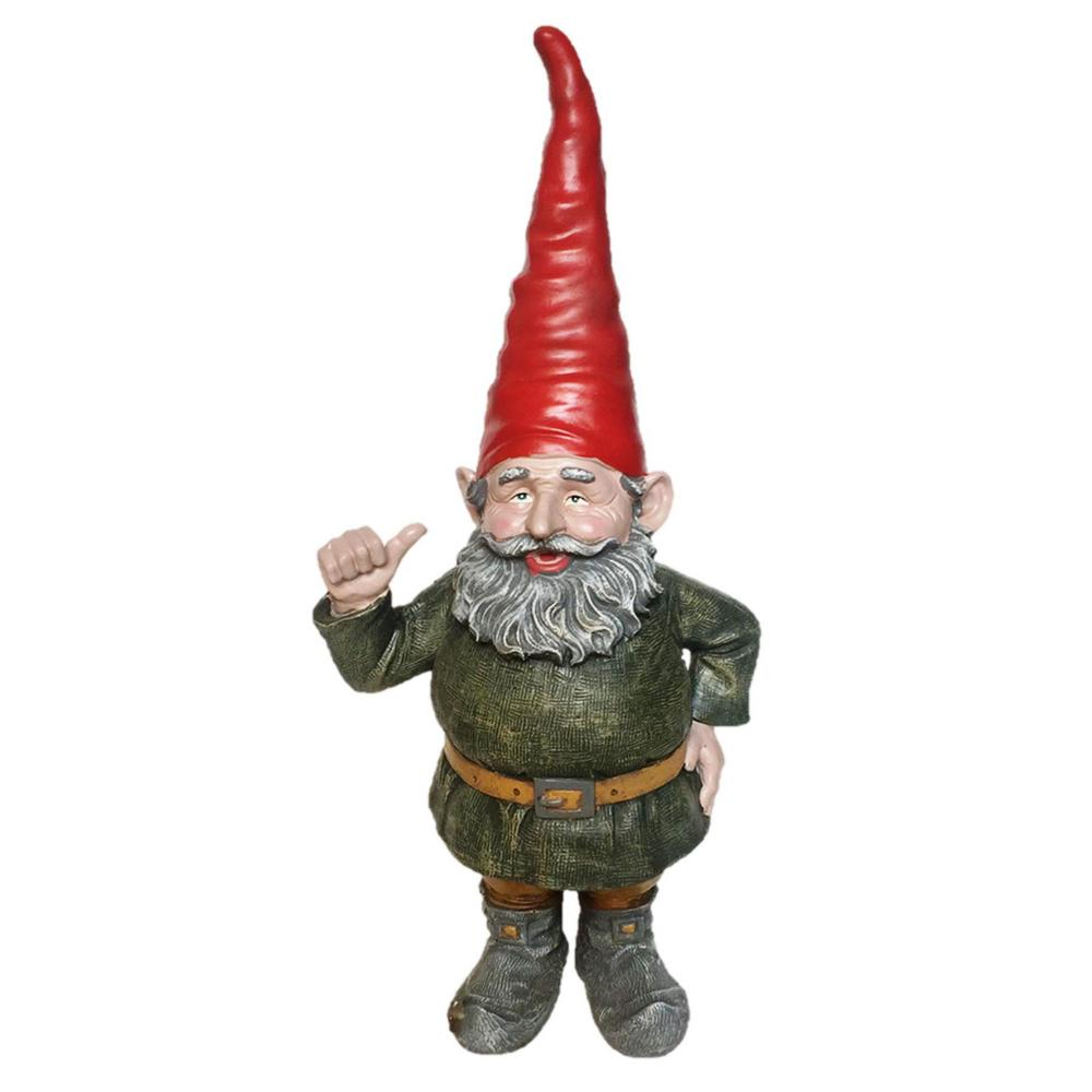 Gnome In Garden: Toad Hollow 32 In. Rumple The Gnome Thumbs Up Garden