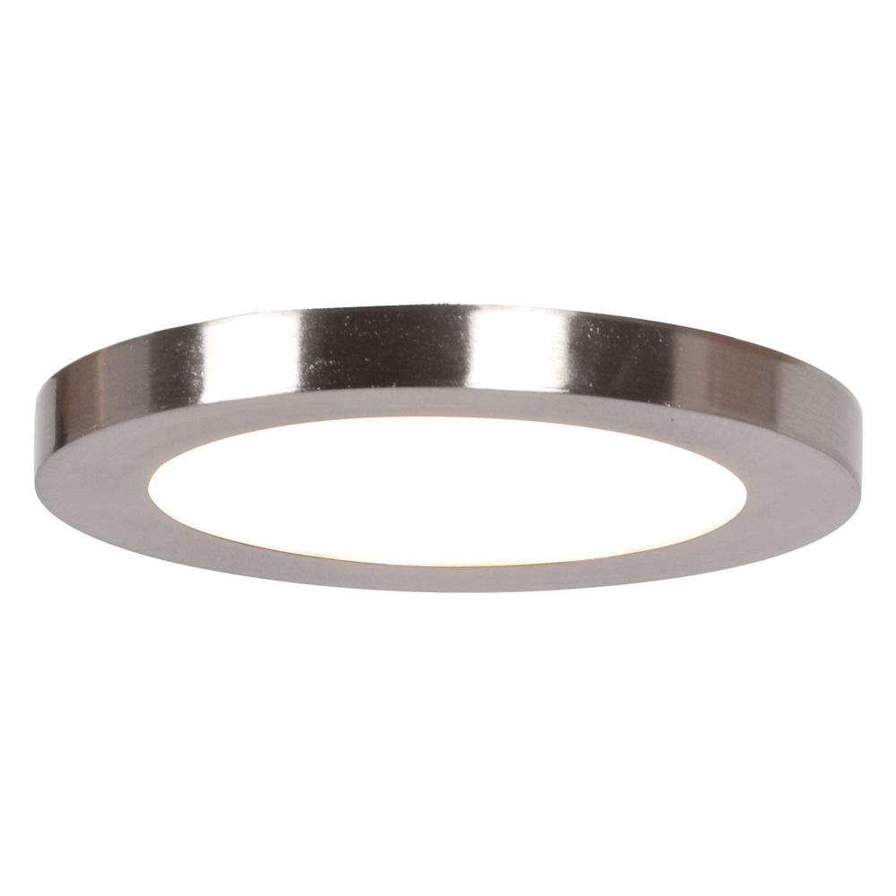 Access Lighting Disc 5 In Dia 60 Watt Equivalent Brushed Steel Integrated Led Flushmount With Acrylic Lens