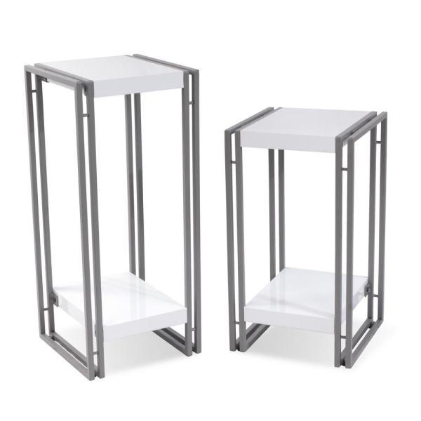 Atlantic Urb Space White Accent Tables End Tables Set Of 2