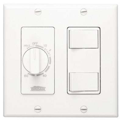 20 Amp 60-Minute In-Wall Dial Timer with 2 On/Off Rocker Switches - White