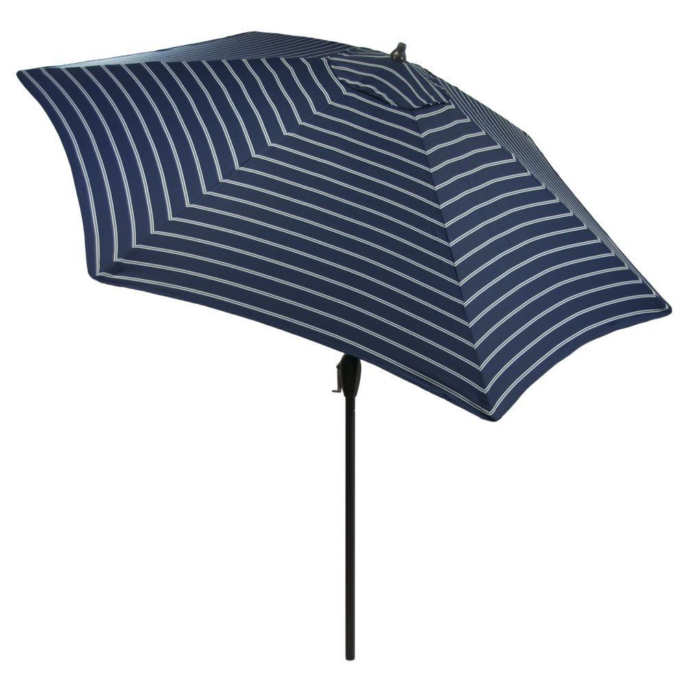 9 ft. Aluminum Market Patio Umbrella in Denim Stripe with Push-Button