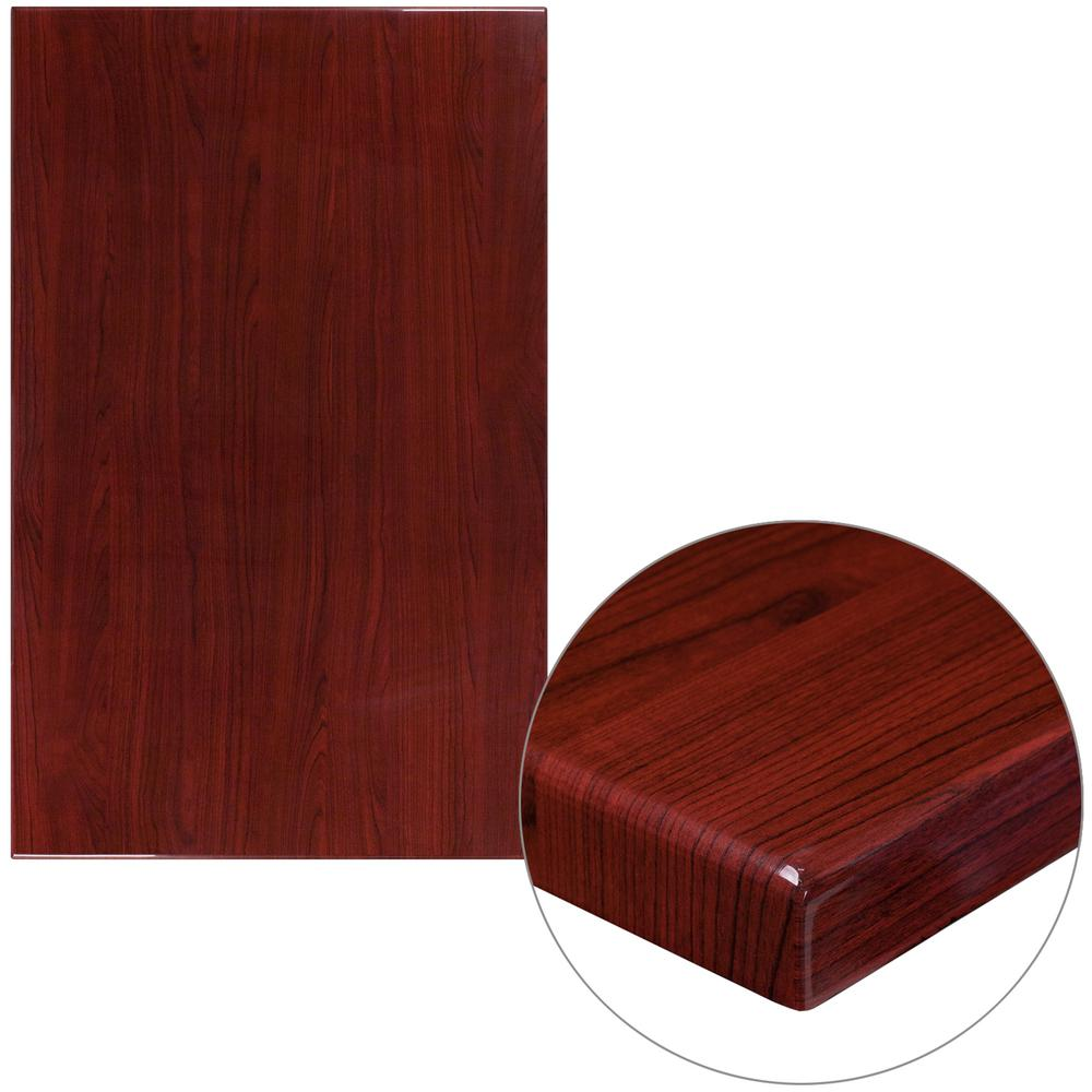 30 in. x 48 in. High-Gloss Mahogany Resin Table Top with