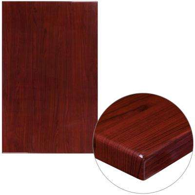 30 in. x 48 in. High-Gloss Mahogany Resin Table Top with 2 in. Thick Drop-Lip