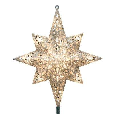 Holiday Classics 11 in. 16-Light Silver Glittered Bethlehem Star Tree Top