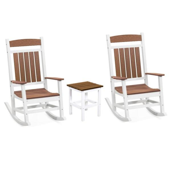 Classic White and Antique Mahogany Rocker 3-Piece Plastic Outdoor Chat Set