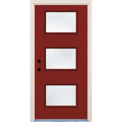 36 in. x 80 in. Cordovan Right-Hand 3 Lite Clear Glass Painted Fiberglass Prehung Front Door with Brickmould