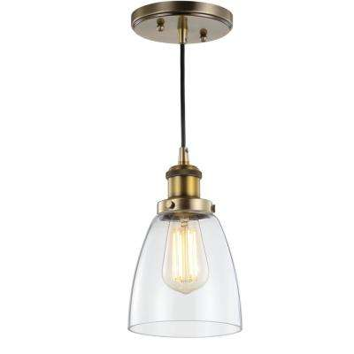 Cleo 5.5 in. 1-Light Brass Gold Adjustable Metal/Glass LED Pendant