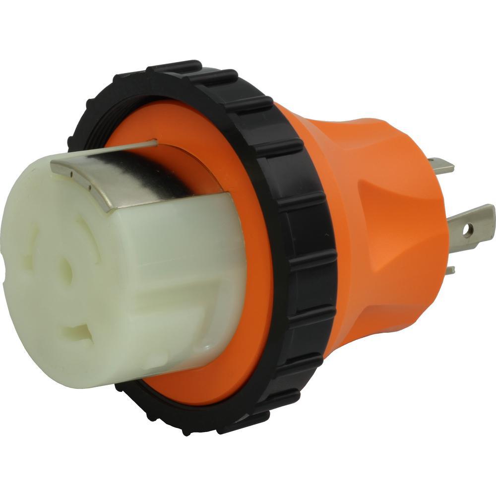RV/ Marine Generator Adapter 4-Prong 30 Amp L14-30P Generator Locking Plug to 50 Amp RV/Marine Locking Female Connector