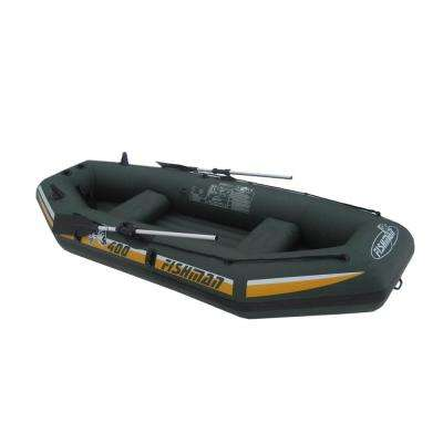 9.5 ft. Green and Yellow Three Person Inflatable Fishing Boat Set