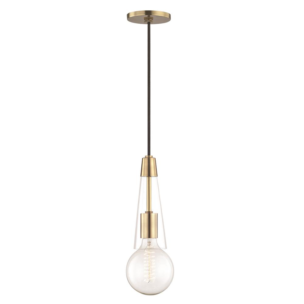 Joni 1-Light Aged Brass Pendant with Clear Glass
