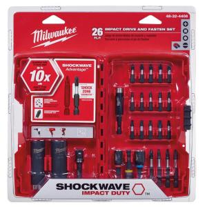milwaukee shockwave impact duty drive and fasten bit set 26 piece 48 32 4408 the home depot. Black Bedroom Furniture Sets. Home Design Ideas