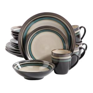 Click here to buy GIBSON elite Lewisville 16-Piece Teal Dinnerware Set by GIBSON elite.
