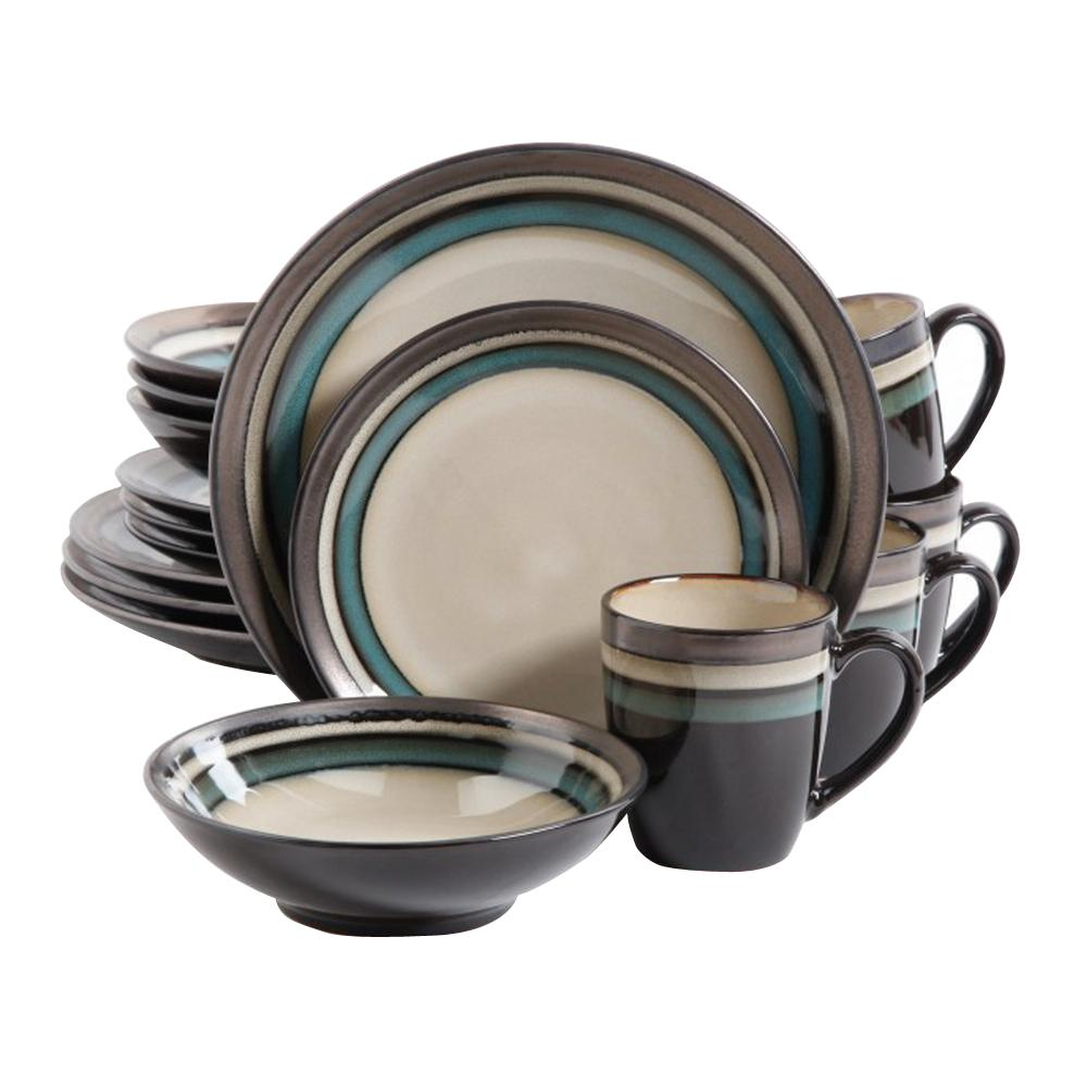 GIBSON elite Lewisville 16-Piece Teal Dinnerware Set  sc 1 st  The Home Depot : gibson plate set - pezcame.com