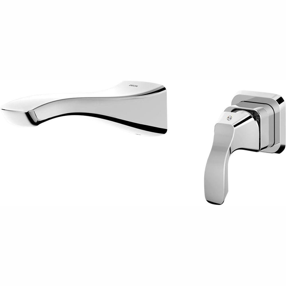 Delta Tesla Single Handle Wall Mount Bathroom Faucet Trim Kit In Chrome  (Valve Not