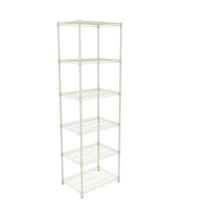 23 in. W x 60 in. H x 13 in. D 6-Shelf Steel Storage Unit in Ivory