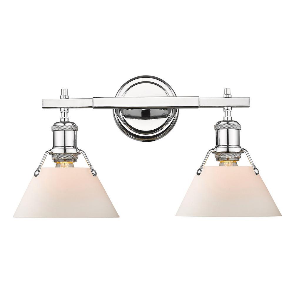 Orwell 2-Light Chrome with Opal Glass Shade Bath Vanity Light