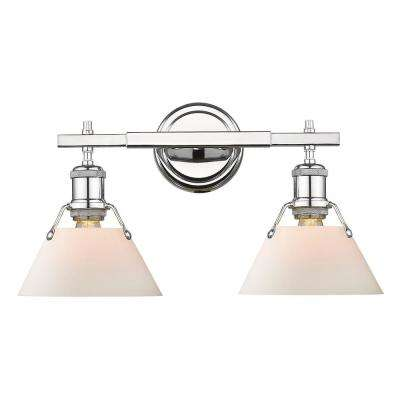 Orwell 2-Light Chrome with Opal Glass Shade Bath Vanity Light