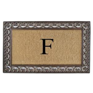 A1HC First Impression Classic Paisley Border 30 inch x 48 inch Rubber and Coir Double Monogrammed F Door Mat by