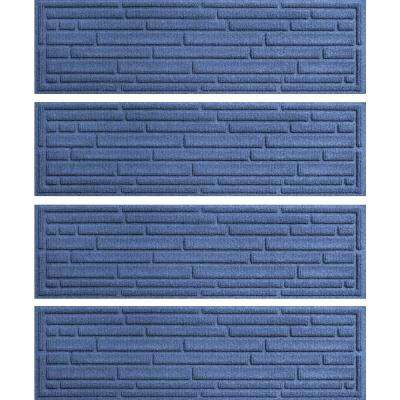 Navy 8.5 in. x 30 in. Broken Brick Stair Tread Cover (Set of 4)