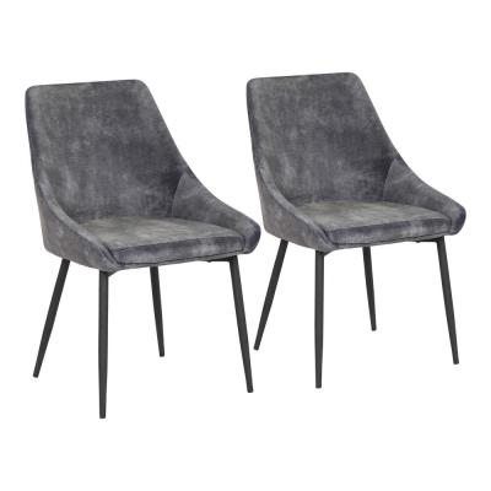 Diana Dining Chair in Dark Grey Velvet  and  Black Metal (Set of 2)