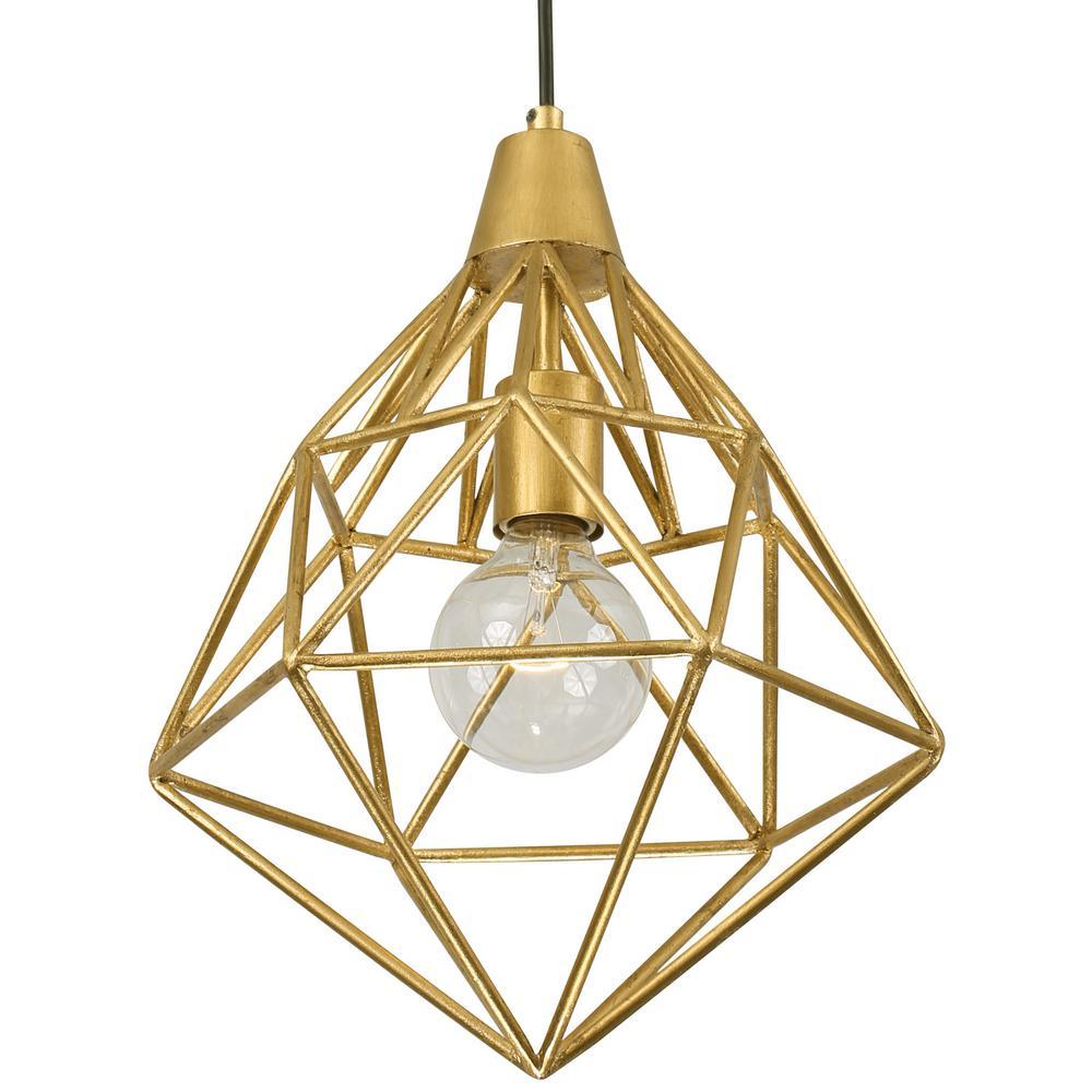 varaluz facet 1 light gold leaf mini pendant 236p01gl the home depot. Black Bedroom Furniture Sets. Home Design Ideas