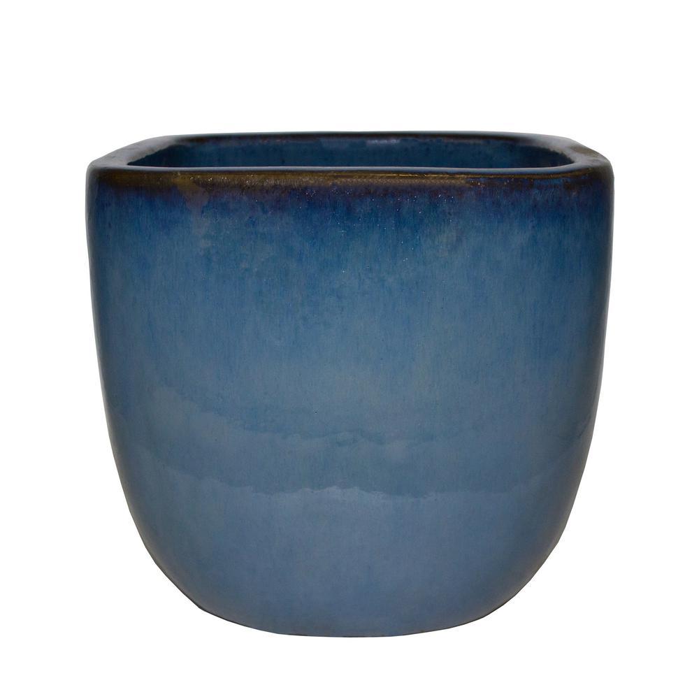 Trendspot 11.5 in. Dia Ceramic Blue Lagos Square Planter