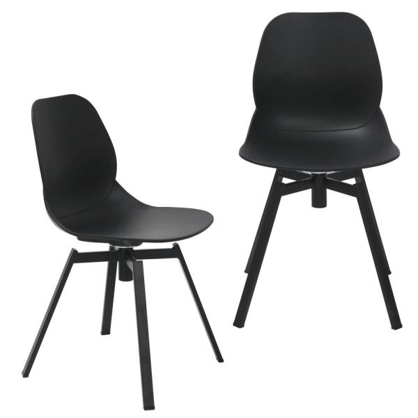 Joy Series Black Dining Shell Side Chair Designer Task Chair with Black Metal Legs (Set of 2)