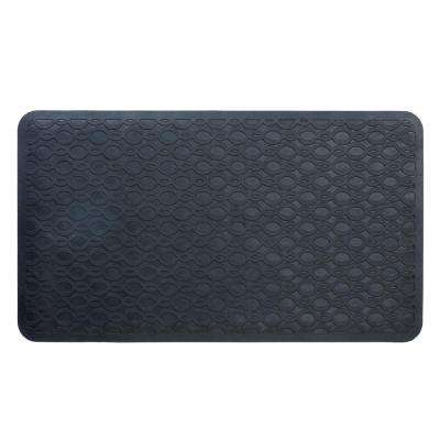 15 in. x 27 in. Large Rubber Safety Bath Mat with Microban in Black