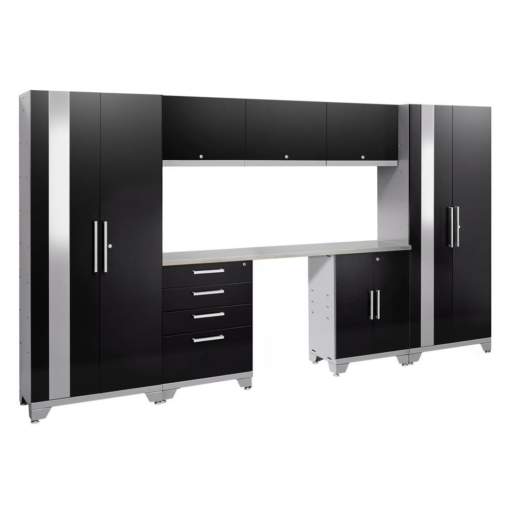 Performance 2.0 72 in. H x 132 in. W x 18 in. D Garage Cabinet Set in Black (8-Piece)