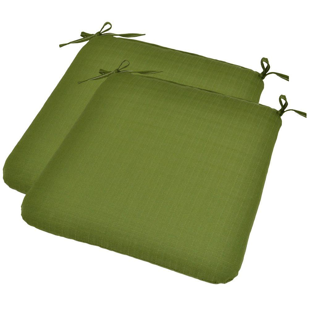 Plantation Patterns Pesto Green Textured Outdoor Seat Pad (2-Pack)-DISCONTINUED