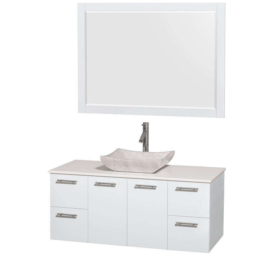 Amare 48 in. Vanity in Glossy White with Solid-Surface Vanity Top