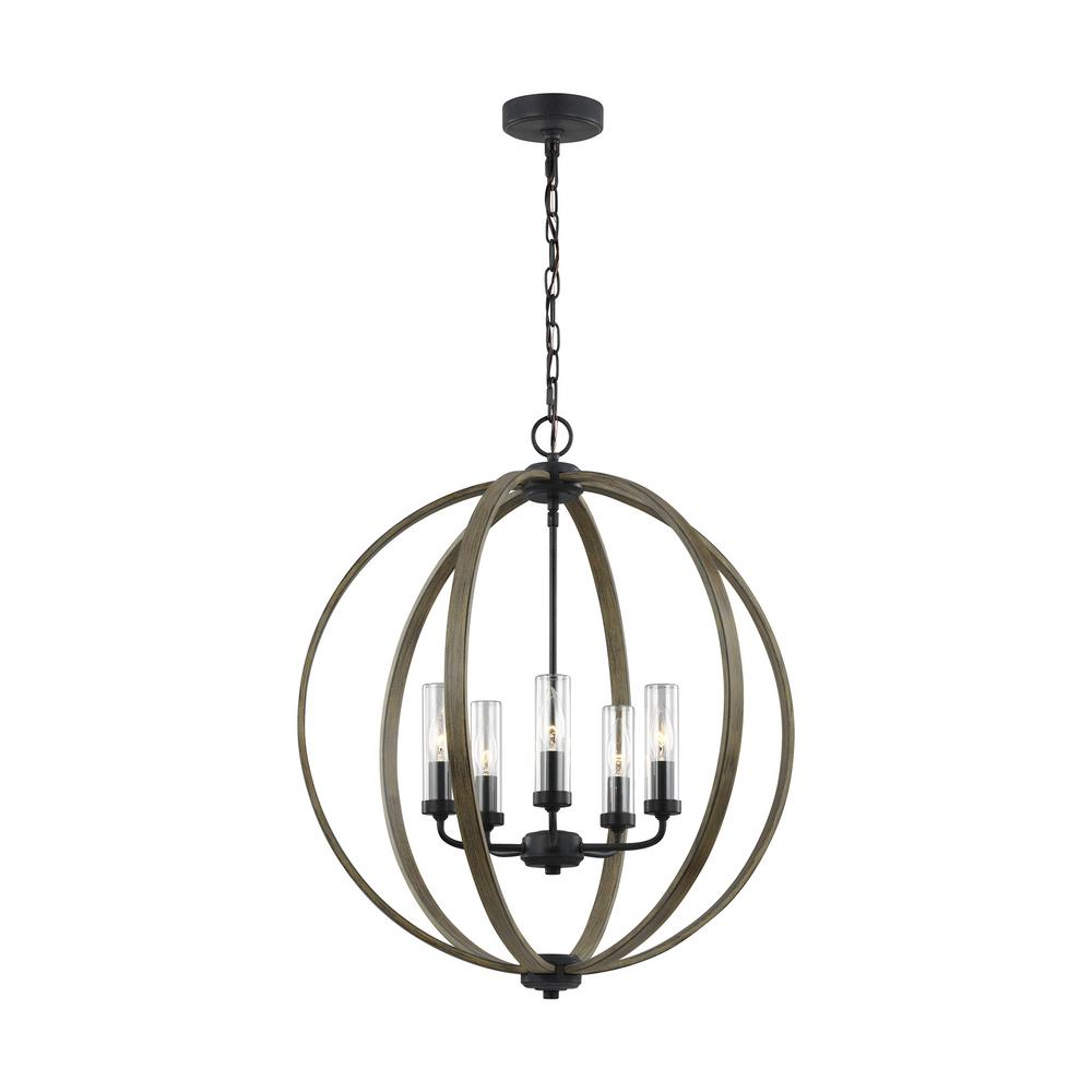 Allier 24 in. W. 5-Light Metal Painted Weathered Oak Wood/Antique Forged