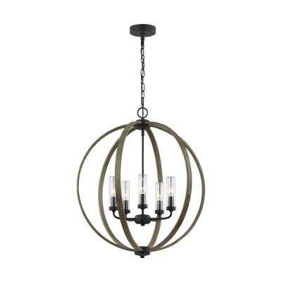 Allier 24 in. W. 5-Light Metal Painted Weathered Oak Wood/Antique Forged Iron Outdoor Chandelier with Clear Glass Shades