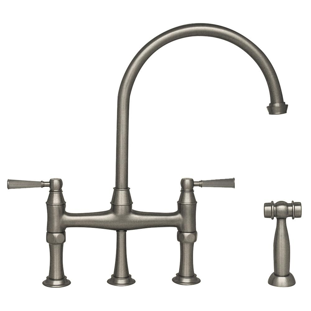 Whitehaus Collection Queenhaus 2 Handle Bridge Kitchen Faucet With Side Sprayer In Polished Nickel