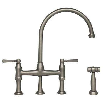 Queenhaus 2-Handle Bridge Kitchen Faucet with Side Sprayer in Polished Nickel