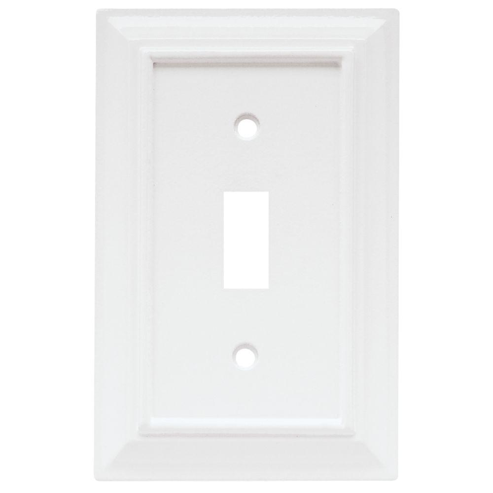 Architectural Wood Decorative Single Switch Plate, White (4-Pack)