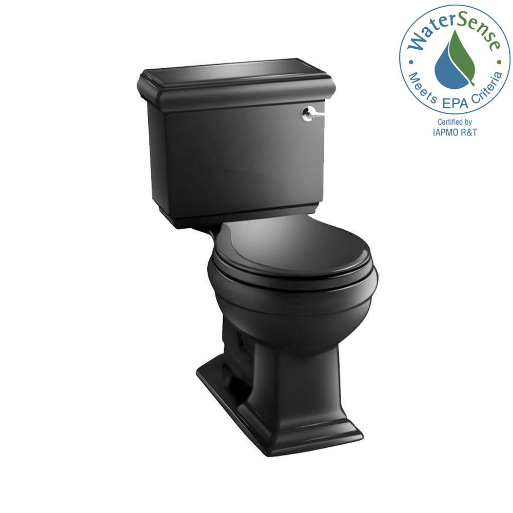 Memoirs Classic 2-piece 1.28 GPF Single Flush Round Toilet in Black