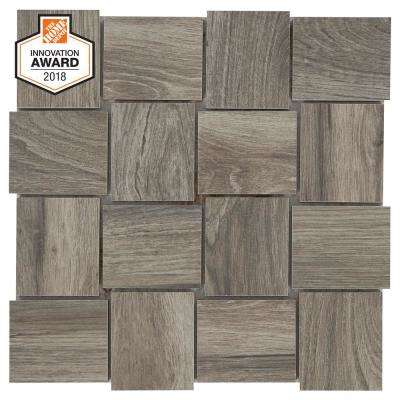 Shadow Wood Modern Weave 12 in. x 12 in. x 8mm Glazed Porcelain Mosaic Tile