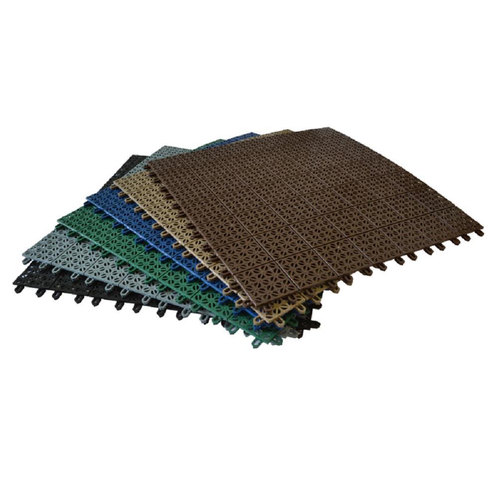 Black 22 in. x 22 in. Flooring Tiles for 8 ft. x 8 ft. Greenhouse