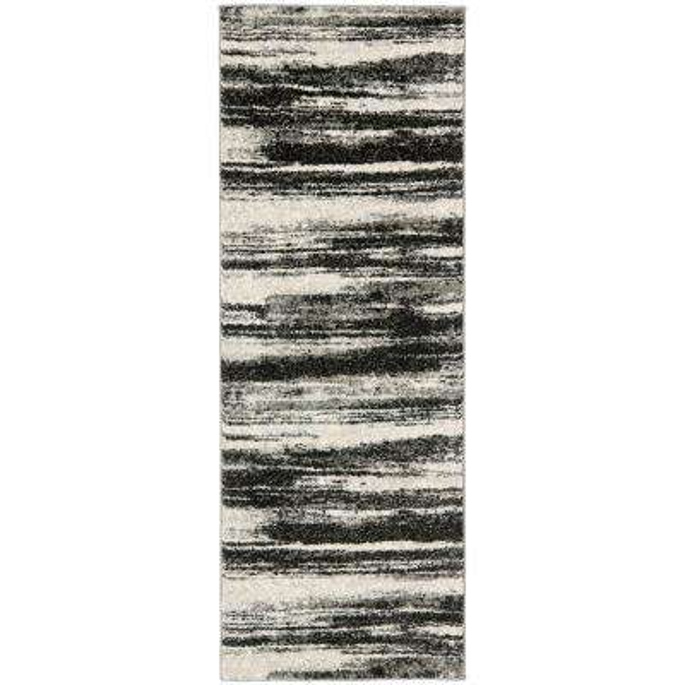 Retro Dark Gray/Light Gray 2 ft. 3 in. x 15 ft. Runner Rug