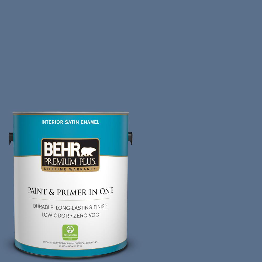 1-gal. #600F-6 Atlantic Blue Zero VOC Satin Enamel Interior Paint