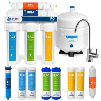 Reverse Osmosis Water Filtration System 5-Stage RO Filter with Faucet and Tank 4-Free Replacement Filters 100 GPD